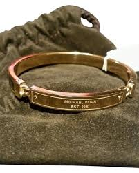 bracelet kors images Michael kors gold tone heritage plaque tortoise hinged bangle new jpg