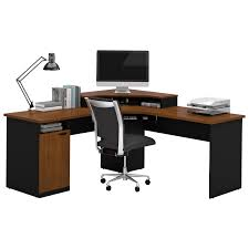 L Desk With Hutch by Bestar Hampton 1 Drawer L Shaped Corner Workstation Tuscany