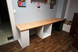 Solid Oak Office Desk Furniture Brown Varnished Oak Wood Long Desk With Tall Bookcase