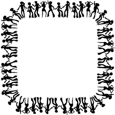 clipart of a square black and white border frame of disco dancers