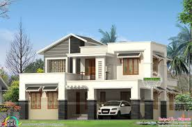 modern slanting roof mix home architecture kerala home design