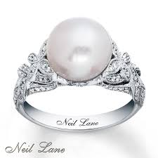 pearl rings diamonds images Kay neil lane designs cultured pearl ring 14k white gold jpg