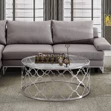 armen living coffee table armen living florence coffee table in brushed silver finish with