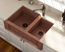 Double Offset Bowl Copper Apron Sink - Copper farmhouse kitchen sink