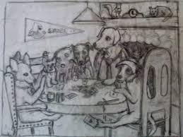 dogs playing poker love all