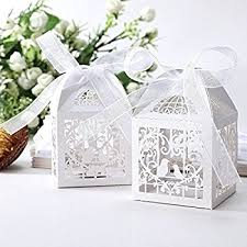 favor ribbons 50pcs laser cut bird favor boxes 2 x2 x2 candy