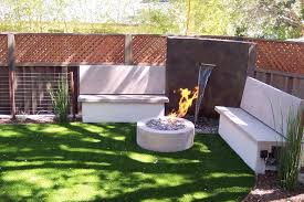 Fire Pit With Water Feature - rectangle fire pit landscape modern with modern water feature
