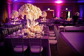 Orchid Centerpieces Wedding Reception Design With Purple Lighting White Orchid