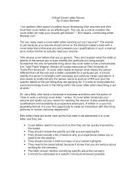 Succinct Resume Critical Cover Letter Advice