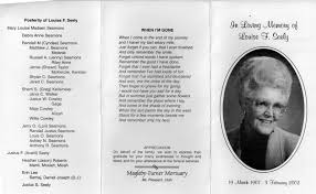 program for funeral mt pleasant obituary page louise f seely funeral program she