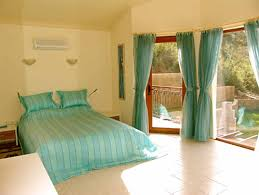 good bedroom ideas with simple double green sheer curtain and