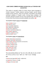 Resume Accents Accented Words In English And Turkish