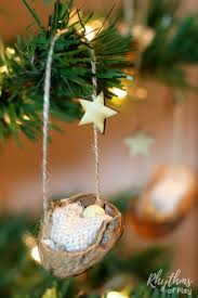 home made christmas decorations for kids rustic walnut shell manger christmas ornament rhythms of play