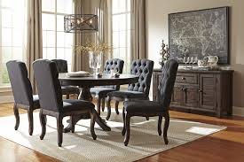 trudell golden brown round dining room table u0026 6 uph side