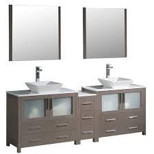 84 Double Sink Bathroom Vanity by 84 Inch Grey Oak Modern Double Sink Bathroom Vanity With Side