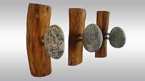 amazon com 3 stone hangers wood coat rack with rocks rock