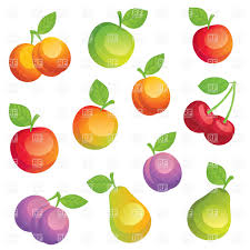 cartoon fruits apricots pears apples and plums vector clipart