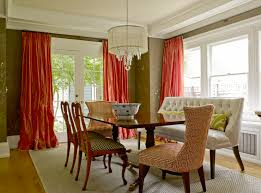 Chocolate Brown And Red Curtains Swedish Chairs Contemporary Dining Room Graciela Rutkowski