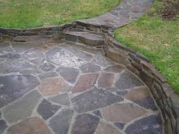 Flagstone Patio Cost Per Square Foot by Flagstone Patio With Built In Planters Nice Option Rather Than
