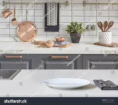 modern kitchen accessories background modern tiles wall white table stock photo 519243406