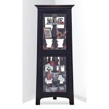 black corner china cabinet black corner china curio cabinets you ll love wayfair