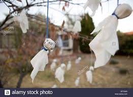 hand made ghost decorations hanging from a tree in front yard