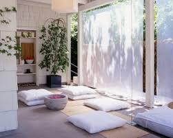 modern minimalist home meditation room design with hardwood floor