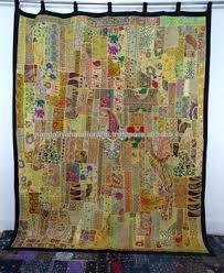 Sari Curtain Big Vintage Sari Patchwork Tapestry Huge Indian Patchwork
