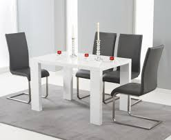 Dining Table With Grey Chairs Monza 150cm White High Gloss Dining Table With Malaga Chairs The