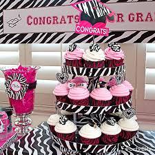 graduation cupcake ideas grad pink and zebra cupcake tower idea pink and zebra graduation