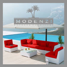 Modern Outdoor Patio Furniture Modenzi Deluxe 7g White Modern Outdoor Pe Wicker Sofa Patio