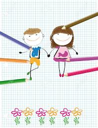 colorful kids drawing on sheet of paper royalty free cliparts