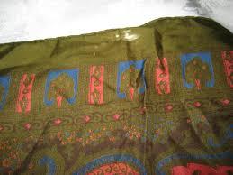 60s design dark olive green square silk scarf edwardian filigree design in