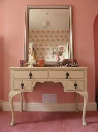 bedroom simple white cream wooden lighted mirror in pink with