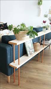 meuble pour mettre derriere canape avec des tourillons en bois et des t en cuivre fabriquez un
