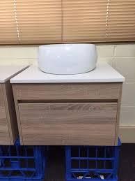 ibiza 600mm white oak timber wood grain wall hung bathroom