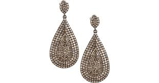diamond teardrop earrings lyst bavna pave diamond teardrop earrings in metallic
