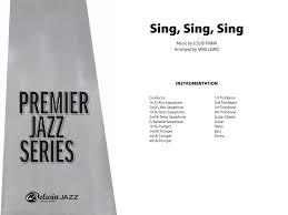 sing sing sing with a swing louis prima sing sing sing by louis prima trans mike lewis j w pepper