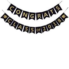 graduation sign congrats class of 2018 party banner glitter gold powder letters