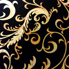 nl052 italian gold and black velvet scroll damask upholstery home