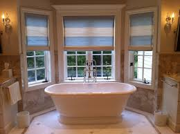 Bay Window Treatment Ideas by Bathroom Curvy Window Treatment Ideas For Creamy Wall Color