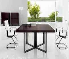 Square Boardroom Table China Manufacturer Square Wood Veneer Meeting Table With X Base