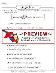 super teacher worksheets adjectives free worksheets library