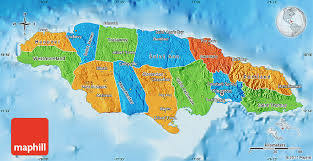 jamaica physical map political map of jamaica physical outside