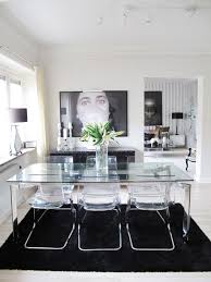 Dining Room Glass Table by Dining Room With Rectangular Glass Table Top And Acrylic Chairs