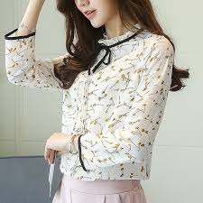floral chiffon blouse buy sleeve ruffle collar tie neck pleat front floral chiffon
