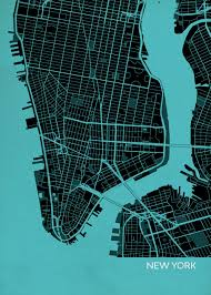 New York City Street Map by New York City Street Map Print Turquoise