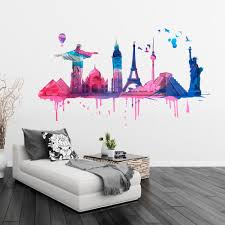 Watercolor Wallpaper For Walls by Travel Decor World Wide Travel Watercolor Monuments