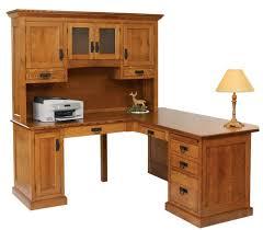 lincoln corner desk with raised panel back amish oak furniture