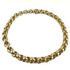 chain link necklace images Yellow gold chain link necklace with three diamond pave circles jpg